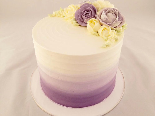 Pleated Buttercream Cake with Ombre Color Gradient