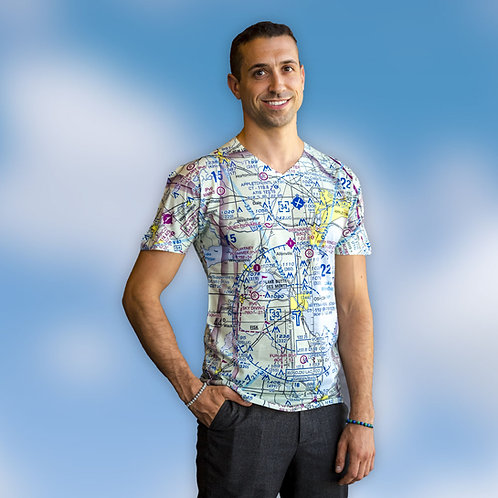 Custom U.S. Aeronautical Chart Mens V-Neck Aeronautical Shirt