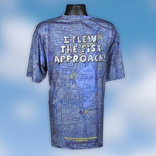 I Flew The Fisk Approach Custom US Aeronautical Chart Shirt V-Neck Blue Wash