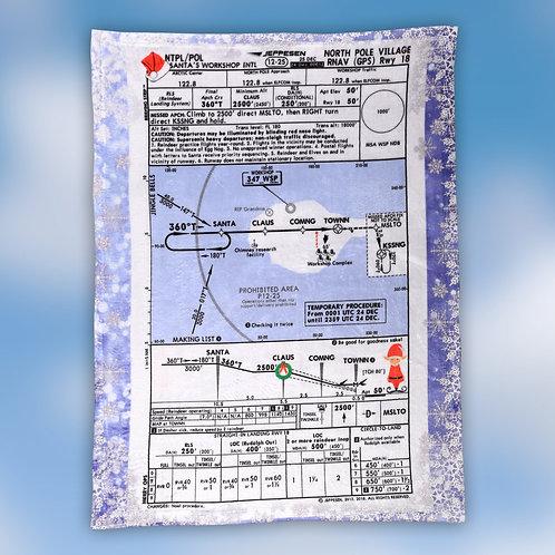 North Pole Approach Plate Fleece Blanket