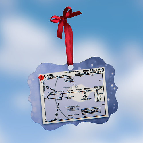 North Pole Approach Plate Christmas Ornament