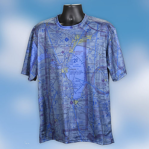 Custom U.S. Aeronautical Chart Shirt Crew Neck Blue wash