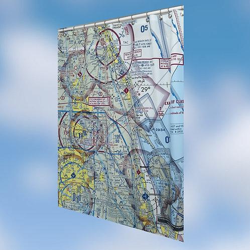 Custom U.S. Aeronautical Chart Shower Curtain