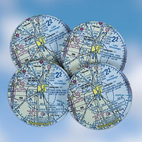 Custom U.S. Aeronautical Chart Sandstone Coasters, Set of 4