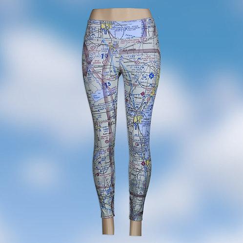 Custom U.S. Aeronautical Chart Yoga Pants