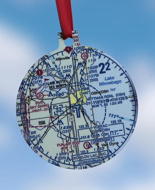 Custom U.S. Aeronautical Chart Christmas Ornament, 2 Sided
