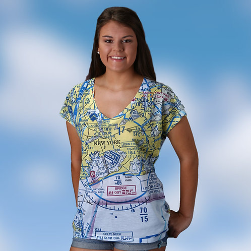 Custom U.S. Aeronautical Chart Women's V-Neck shirt