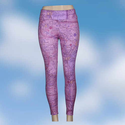 Custom U.S. Aeronautical Chart Yoga Pants Magenta or Blue Wash
