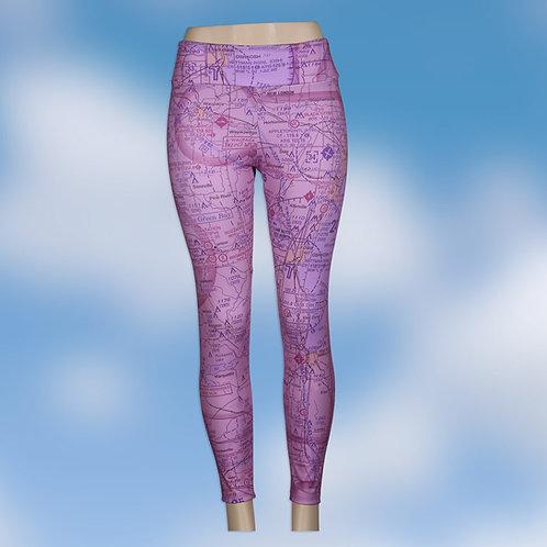 Custom U.S. Aeronautical Chart Yoga Pants Magenta or Blue Wash