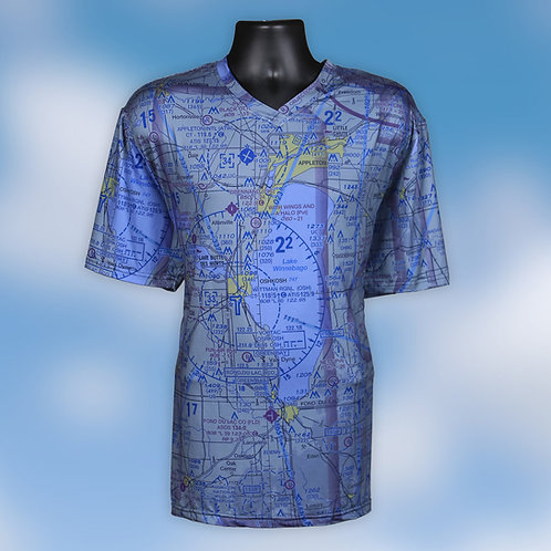 Custom U.S. Aeronautical Chart Mens V Neck Shirt Blue Wash