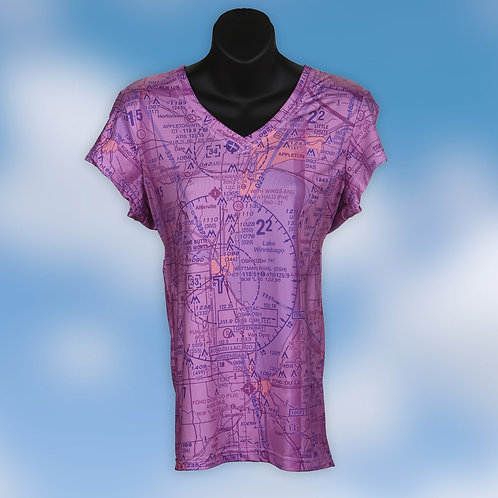 Custom U.S. Aeronautical Chart Women's V-Neck Shirt Magenta or Blue Wash