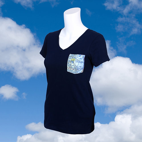 Custom U.S. Aeronautical Chart Pocket Shirt Women's V-Neck
