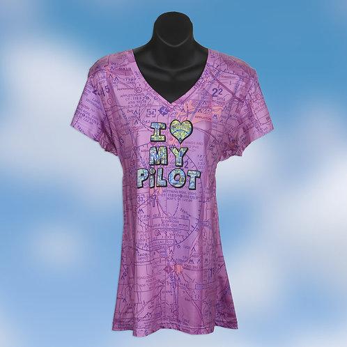 I Love My Pilot Women's V-Neck shirt