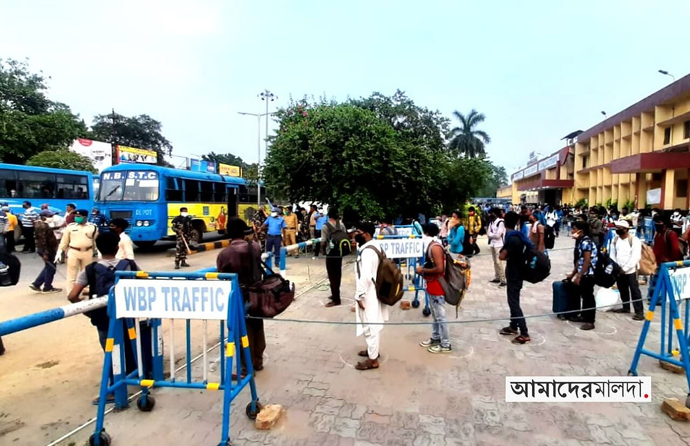 Special train with workers in Malda Town Station
