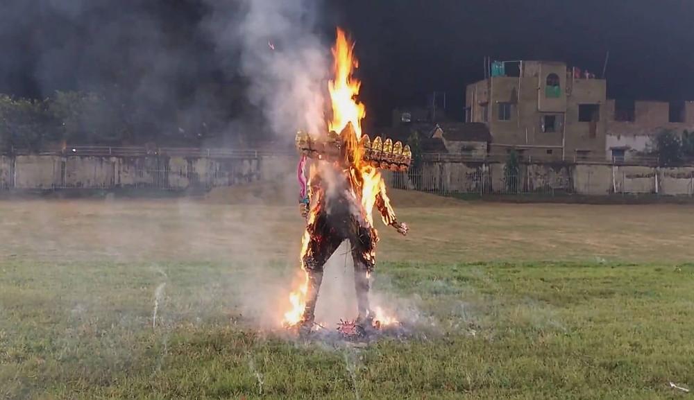 Malda Burnt an Effigy of 'Coronasur' on Dussehra