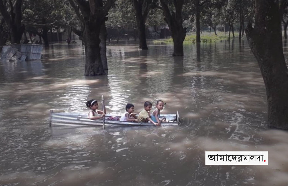 Chanchal Villages flooded by rising water of Mahananda