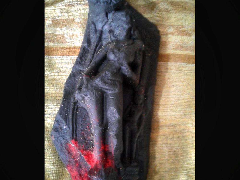 old Goddess idol found in Bamangola while digging soil