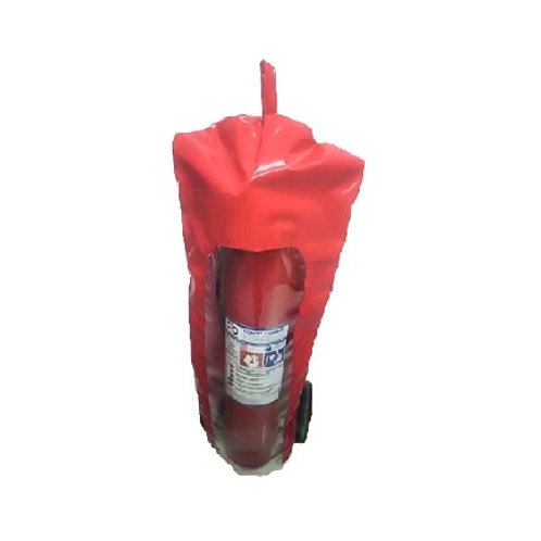 Capa para Extintor de Incêndio PQS 20kg em PVC Vermelho com Visor Cristal