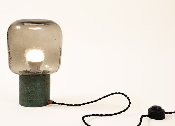 Tata Hammered Copper & Blown Glass Desk Lamp