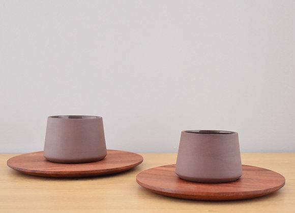 Brown Ceramic Espresso Cups Set w/ Tzalam Wooden Plates.