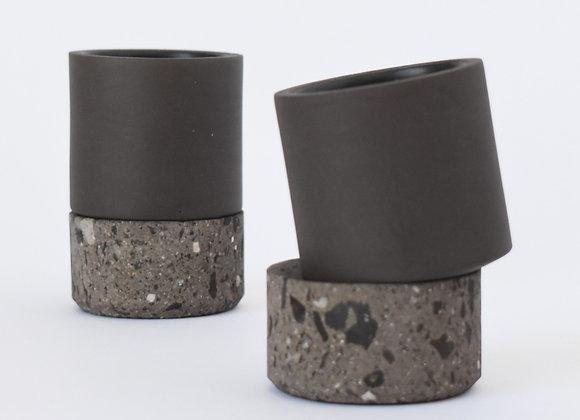 Mexican Ceramic Mezcal Shot Glasses w/ Base. Set of 4.