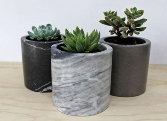 Marble Round Indoor Planter Pots. Succulent Cactus Pot in Multiple Colors.