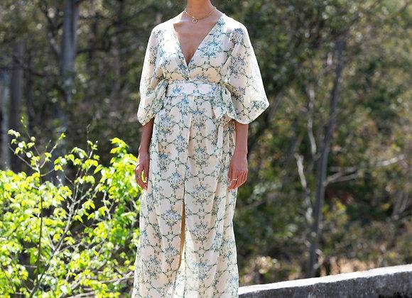 Off White Green Flowered Japanese Gauze Women Dress