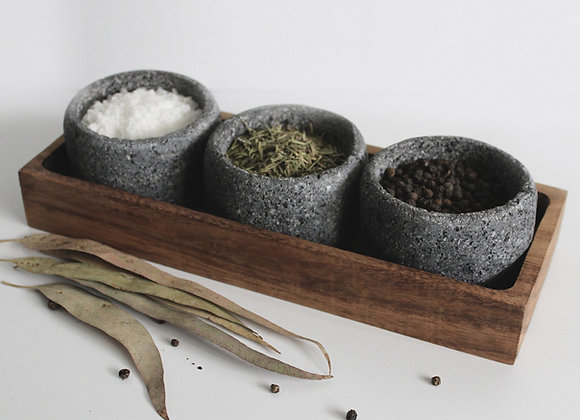 Volcanic Stone Pinch Pot Set. Condiment Bowls. Set of 3.