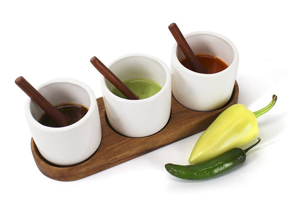 Poj Ceramic Salsa Containers Set with Wooden Tray & Serving Spoons