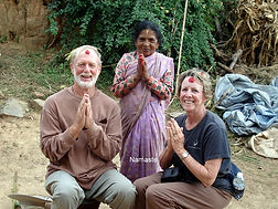 Jesse Wells & Dee Chapon receiving tikka in Nepalese village