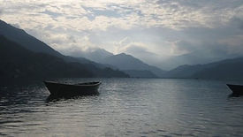 Annapurna mountains seen from Phewa Lake, Pokhara, Nepal