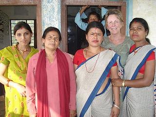 Mature age volunteer, Dee Chapon, with teachers at Jitpur Village, Nepal
