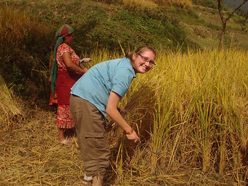 VIN volunteer, Maddison, working in Nepal village rice field