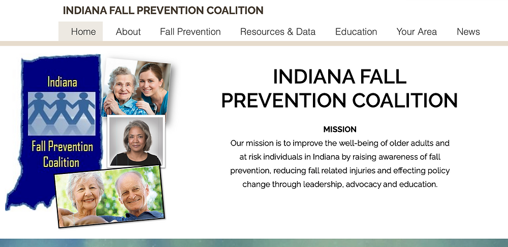 Screenshot of the Indiana Fall Prevention Coalition website