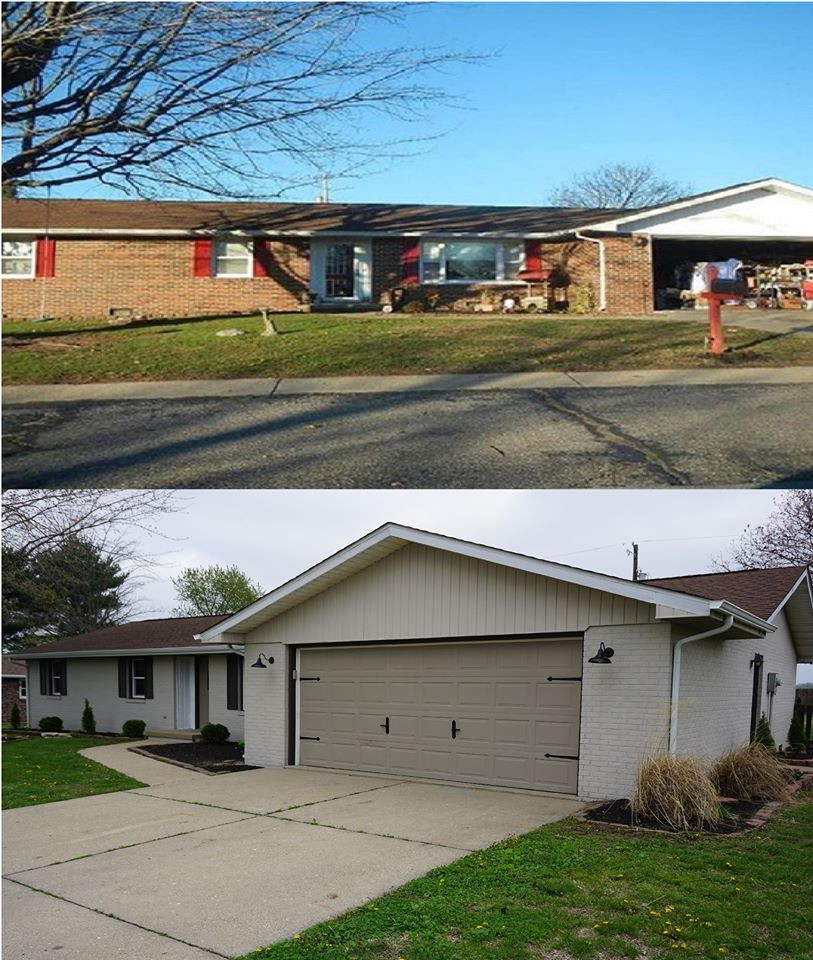 Before and after picture of the front of a ranch style home.
