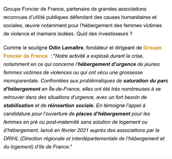 Odin Lemaitre pour Groupe Foncier de France - BFM TV