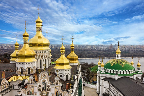 Kiev, Ukraine. Cupolas of Pechersk Lavra