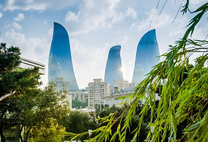 View of the Baku towers from local park.