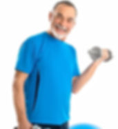 Senior man performing biceps curls with dumbbells and exercise ball.