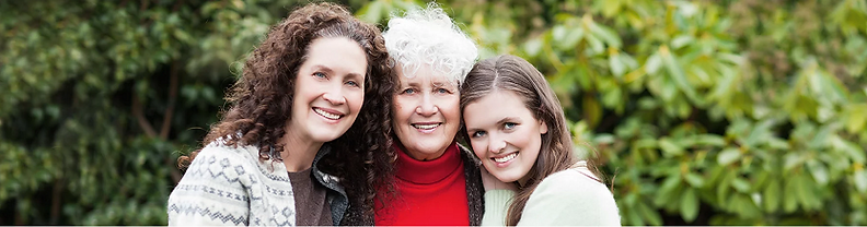 3 generations of women from the same famiily. Elderly mother, 50 year old daughter, 20 year old grand daughter.