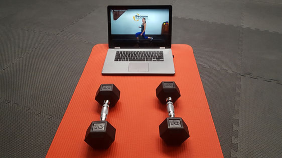 laptop & dumbbells