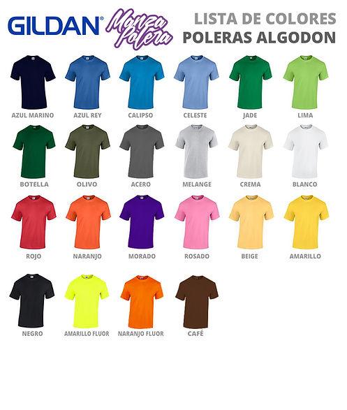 Colores de Poleras Algodón
