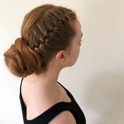 french braid into a low textured bun tod