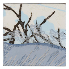 2016 color woodcut prints and acrylic media on panel 4 x 4 inches