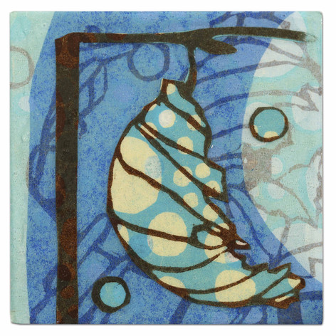 2008 woodcut prints and acrylic media collaged on panel 4 x 4 inches