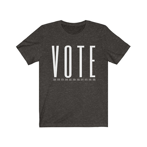 Unisex VOTE Tee with US Voting Rights History Dates