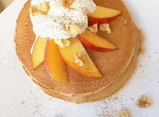 Peaches and Cream Pancakes with Salted Caramel Whipped Cream