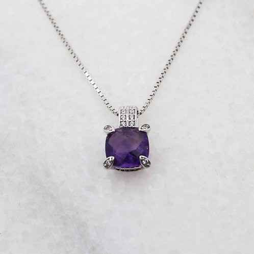 Whisper Bermuda 925 Silver Pendant with Natural Amethyst Gemstone