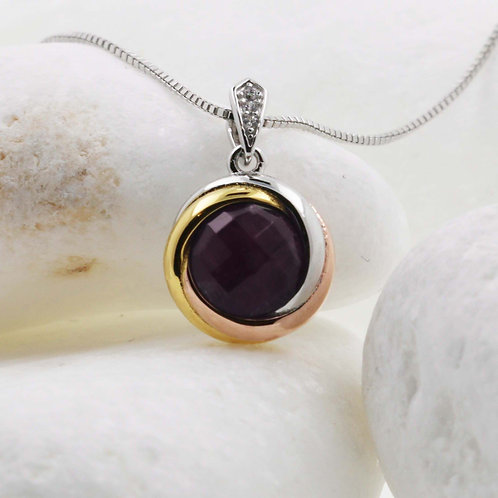 Whisper Curacao 925 silver Round Pendant with Natural Amethyst