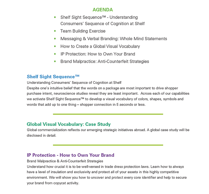 terri goldstein global branding, global branding seminar, team building exercise, shelf sight sequence, global visual vocabulary IP protection, how to own your brand, global commercialization, brand malpractice, the goldstein group, verbal branding